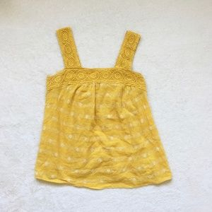 Old Navy Square Neck Yellow Floral Tank XS